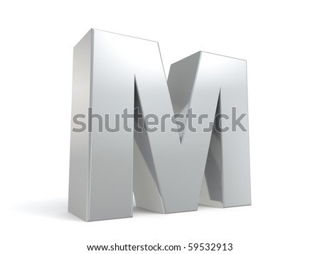 letter M in metal