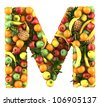 Letter - M made of fruits. Isolated on a white. - stock photo