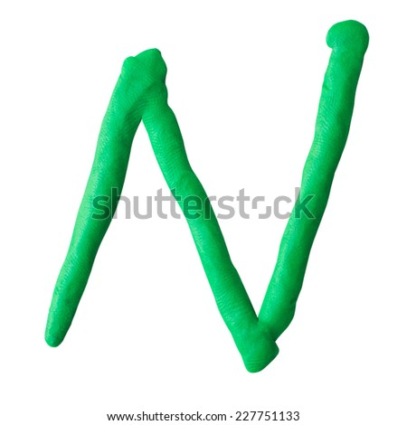 letter N from plasticine isolated on white background