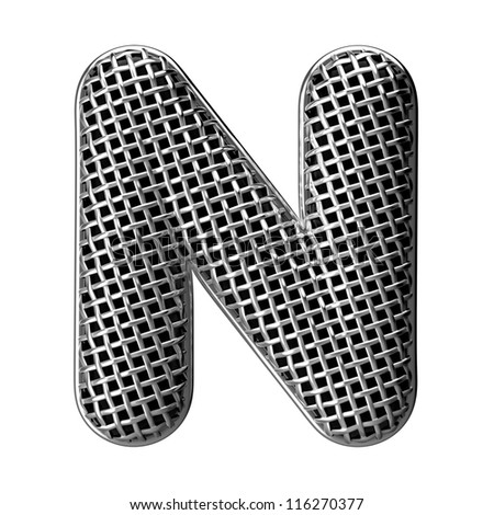 Letter N from round microphone style alphabet. There is a clipping path
