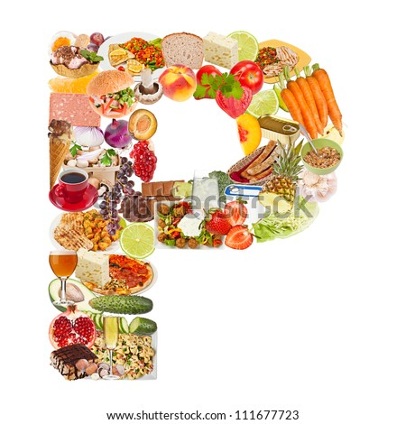 Letter P made of food isolated on white background