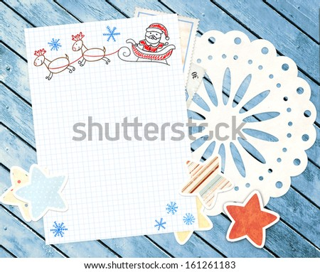 Letter to Santa Claus. Horizontal background - stock photo