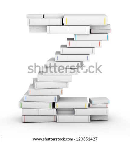 Letter Z, stacked from many blank title books in column