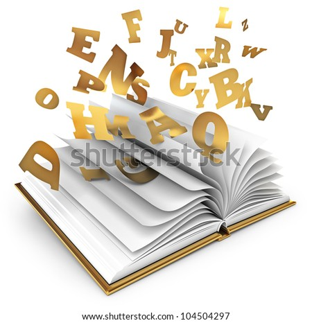 Letters flying out of an open book. Magic book. Fairy tale. White ...