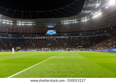 Leverkusen, Germany- December 9, 2015: Interior view of the full BayArena Stadium during the UEFA Champions League game between Bayer 04 Leverkusen vs Barcelona