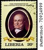 "LIBERIA - CIRCA 2000s: A stamp printed in Liberia shows President John Quincy Adams, circa 2000s. ""All USA Presidents"" series. - stock photo"