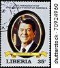 "LIBERIA - CIRCA 2000s: A stamp printed in Liberia shows President Ronald Reagan, circa 2000s. ""All USA Presidents"" series. - stock photo"