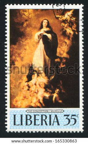 LIBERIA - CIRCA 1969: stamp printed by Liberia, shows Sistine Madonna by Raphael, circa 1969