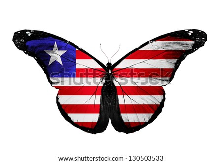 Liberian flag butterfly, isolated on white background