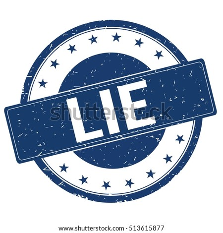 LIE stamp sign text word logo blue.