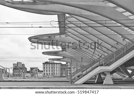 LIEGE, BELGIUM - December 2014: Detailed roof of the Liege-Guillemins railway station, designed by Santiago Calatrava. Black and white photograph