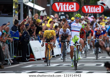 LIEGE, BELGIUM-JULY 1: Peter Sagan finishes first at the 1st stage of Tour de France 2012, July 01, 2012 Tour de France in Liege, Belgium.