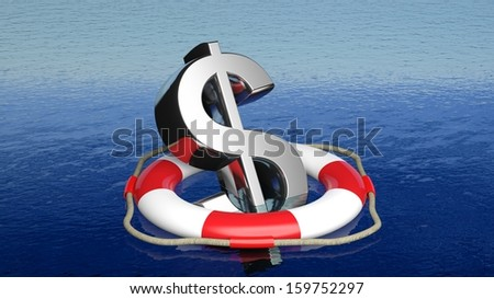 Life belt with dollar sign in open sea