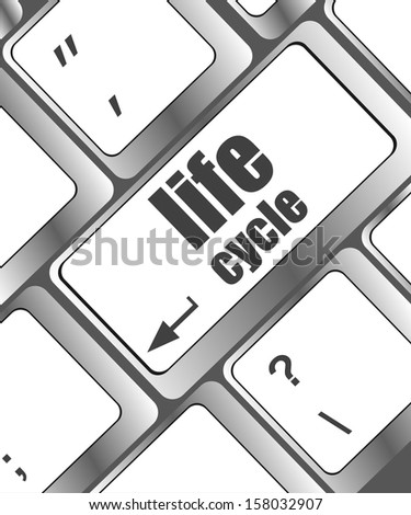 life cycle on laptop keyboard key, raster