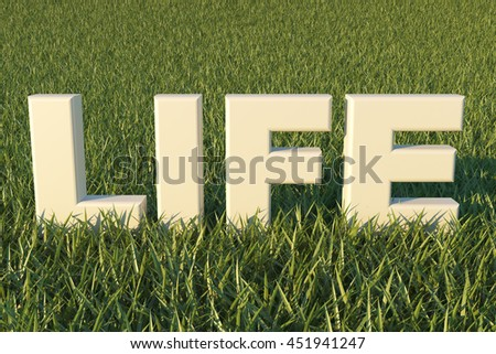Life text 3d on grass background Render