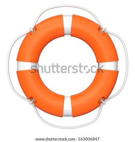 Lifebuoy on white background, clipping path available.
