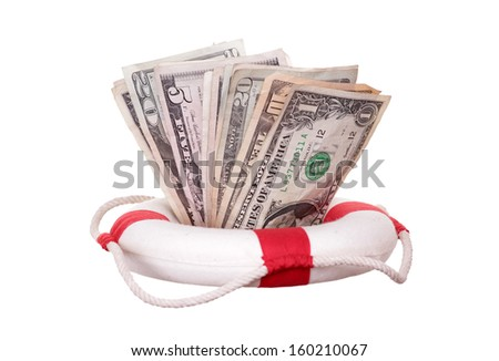 lifebuoy with dollars