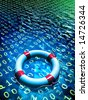 Lifesaver floating in a binary data sea. Digital illustration - stock photo