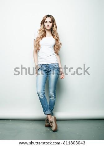 Lifestyle Fashion People Concept Full Body Stock Photo