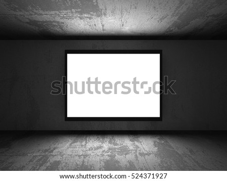 Light blank banner billboard in dark concrete walls room interior. 3d render illustration