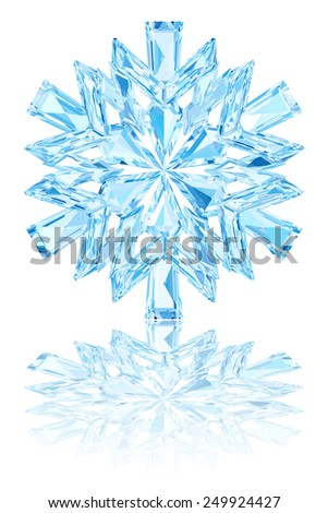 Light blue crystal snowflake on glossy white background. High resolution 3D image