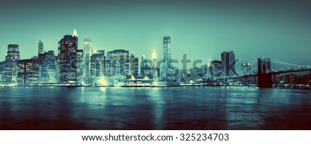 Light Blue Panoroma Of New York City Concept