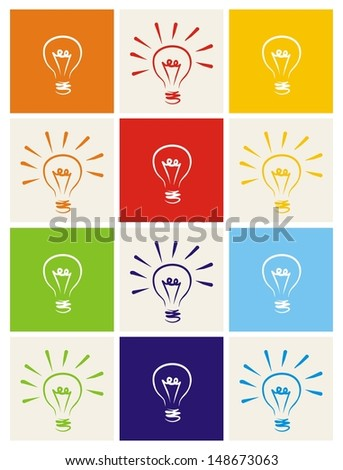 Light bulb icon set - hand drawn colorful doodle collection isolated on green, blue, dark denim, beige, red, orange and yellow background. Sign of ecology thinking or creative invention