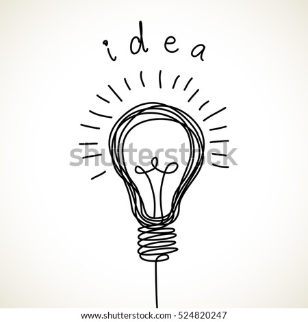 Light bulb icon with concept of idea. Doodle hand drawn sign. Illustration for print, web