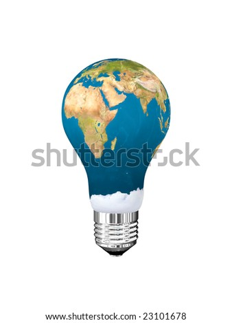 Light bulb in globe form. Isolated on white.