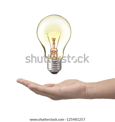 Light bulb in woman hand,Realistic photo image. Turn on tungsten light bulb with hand, isolated on white background.