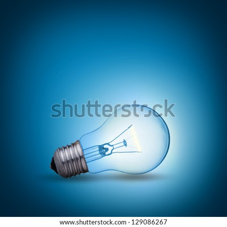 light bulb on blue background on the ground side