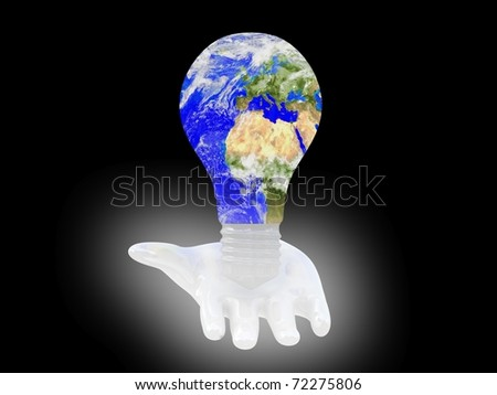 Light bulb with planet Earth on palm