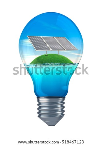 light bulb with sea, sky and a green isle with solar panels, concept of sustainable energy (3d render)