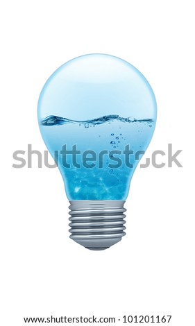 Light bulb with water inside (clipping path)