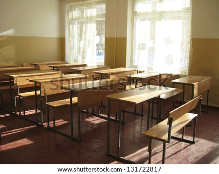 light classroom with a lot of desks