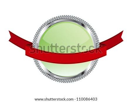 Light green glossy glass round badge / banner with metallic decoration ...