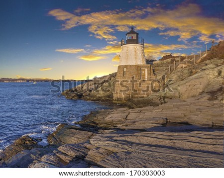 Light house located off the coast of Cape Cod, Massachusetts, USA