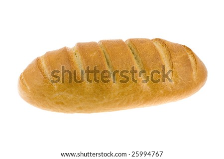Light long loaf isolated on a white background