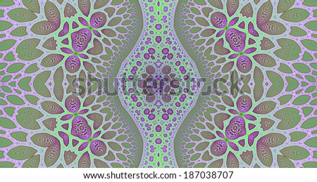 Light pink, green and cyan colored abstract high resolution fractal background with a detailed leafy organic looking pattern and a central rhomboid decorative pillar