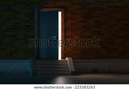 Heavenly Rays Light Behind Door Stock Photo 63061714