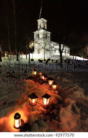 Lighted lamps in the cemetery
