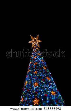 Lighten up christmas tree at night