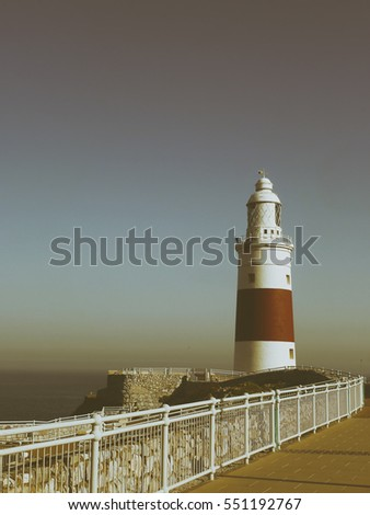 Lighthouse Gibraltar in retro style