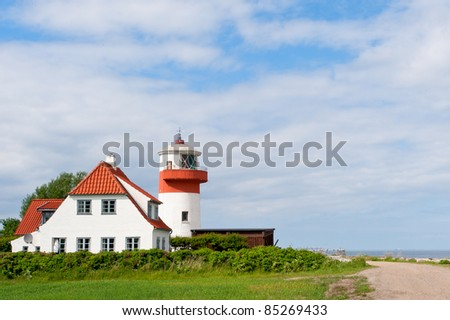 Lighthouse Hov Fyr on the island Langeland, Denmark.