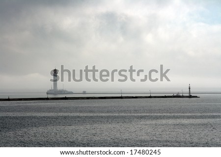 Lighthouse in a morning fog in Odessa