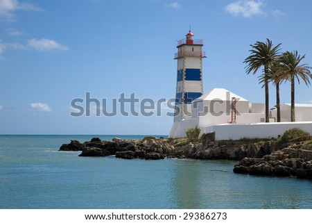 Lighthouse in the harbour of Cascais, Portugal