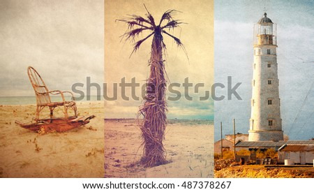 lighthouse, palm tree, old-fashioned rocking chair on a beach.Vintage toned