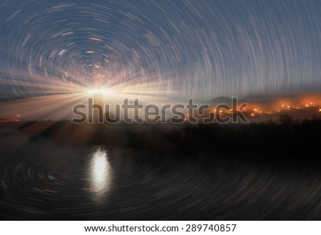 "lighthouse with stars""Elements of this image furnished by NASA"