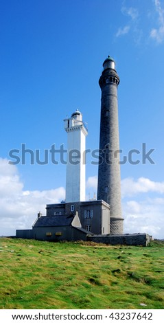 Lighthouses of an island in Brittany in France