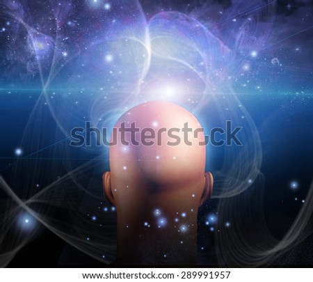 Lights and lines swirl around mans head